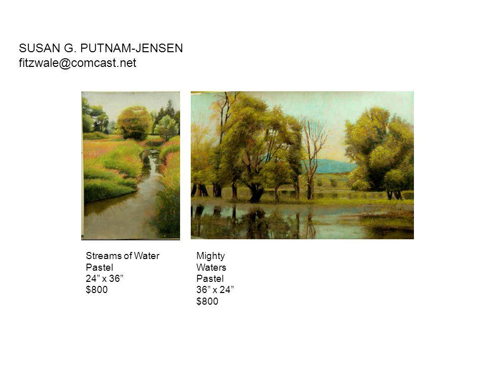 "Streams of Water Pastel 24"" x 36"" $800 Mighty Waters Pastel 36"" x 24"" $800 SUSAN G. PUTNAM-JENSEN fitzwale@comcast.net"