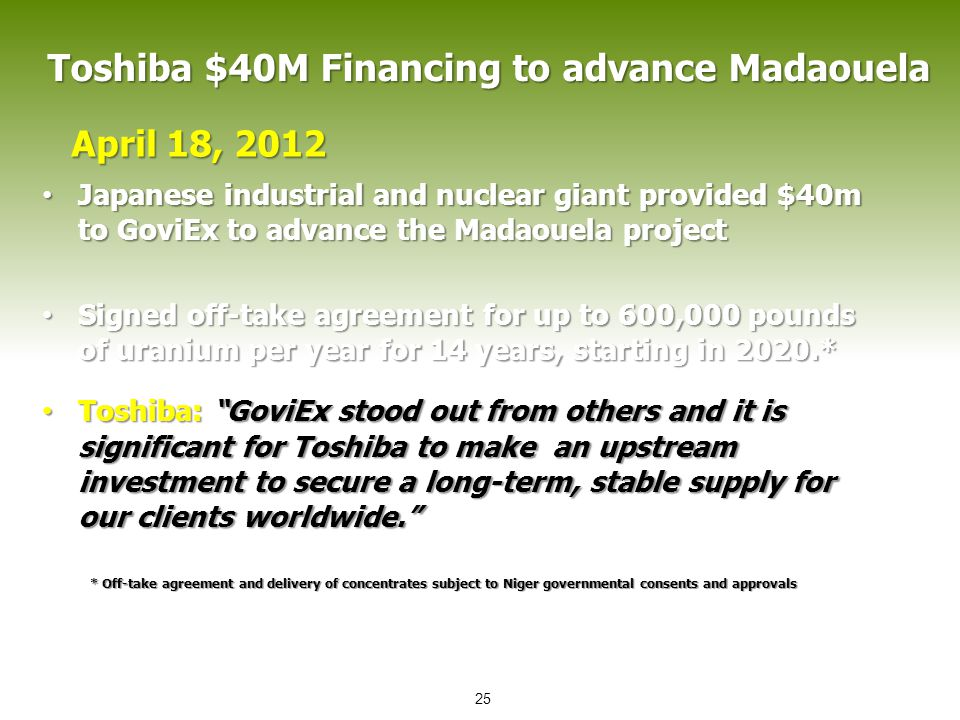 Toshiba $40M Financing to advance Madaouela Japanese industrial and nuclear giant provided $40m to GoviEx to advance the Madaouela project Japanese in