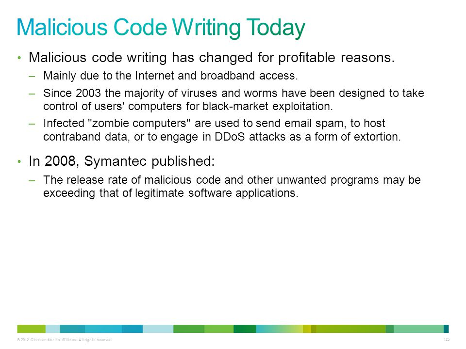 © 2012 Cisco and/or its affiliates. All rights reserved. 125 Malicious code writing has changed for profitable reasons. –Mainly due to the Internet an