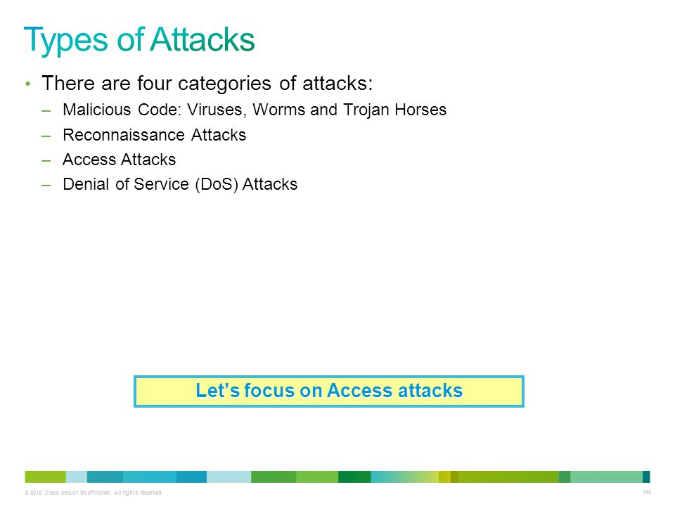© 2012 Cisco and/or its affiliates. All rights reserved. 154 There are four categories of attacks: –Malicious Code: Viruses, Worms and Trojan Horses –
