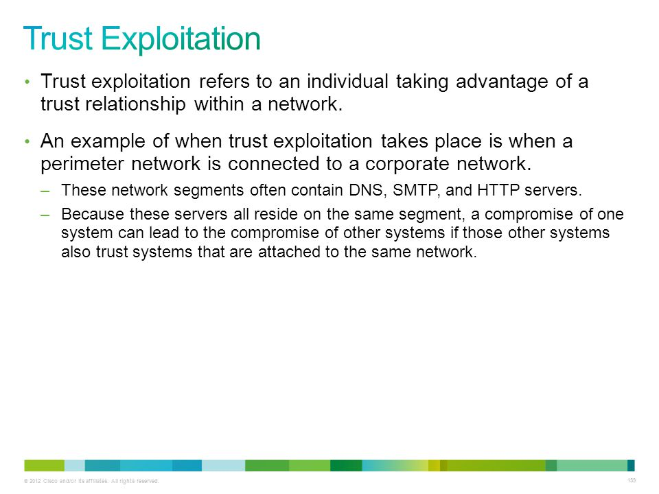 © 2012 Cisco and/or its affiliates. All rights reserved. 159 Trust exploitation refers to an individual taking advantage of a trust relationship withi