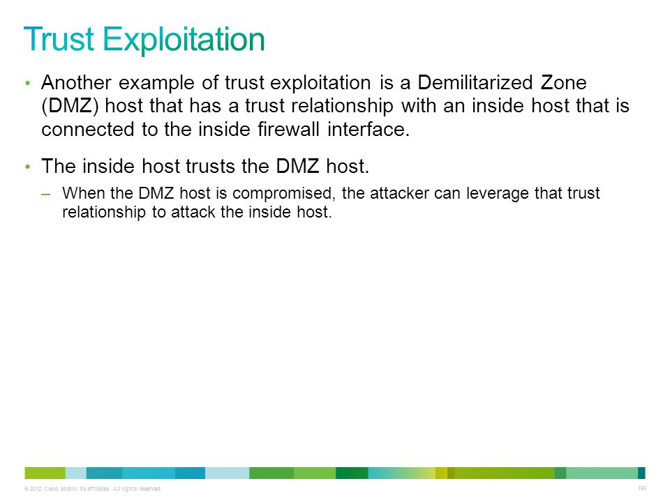 © 2012 Cisco and/or its affiliates. All rights reserved. 160 Another example of trust exploitation is a Demilitarized Zone (DMZ) host that has a trust