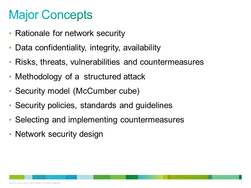 © 2012 Cisco and/or its affiliates. All rights reserved. 2 Rationale for network security Data confidentiality, integrity, availability Risks, threats