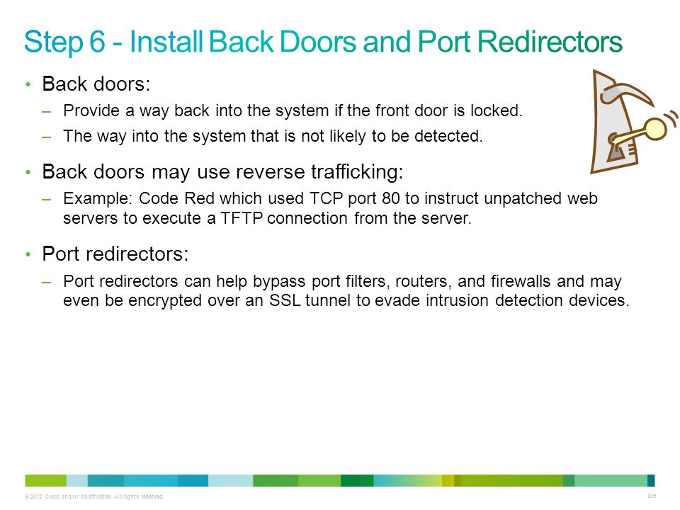 © 2012 Cisco and/or its affiliates. All rights reserved. 209 Back doors: –Provide a way back into the system if the front door is locked. –The way int