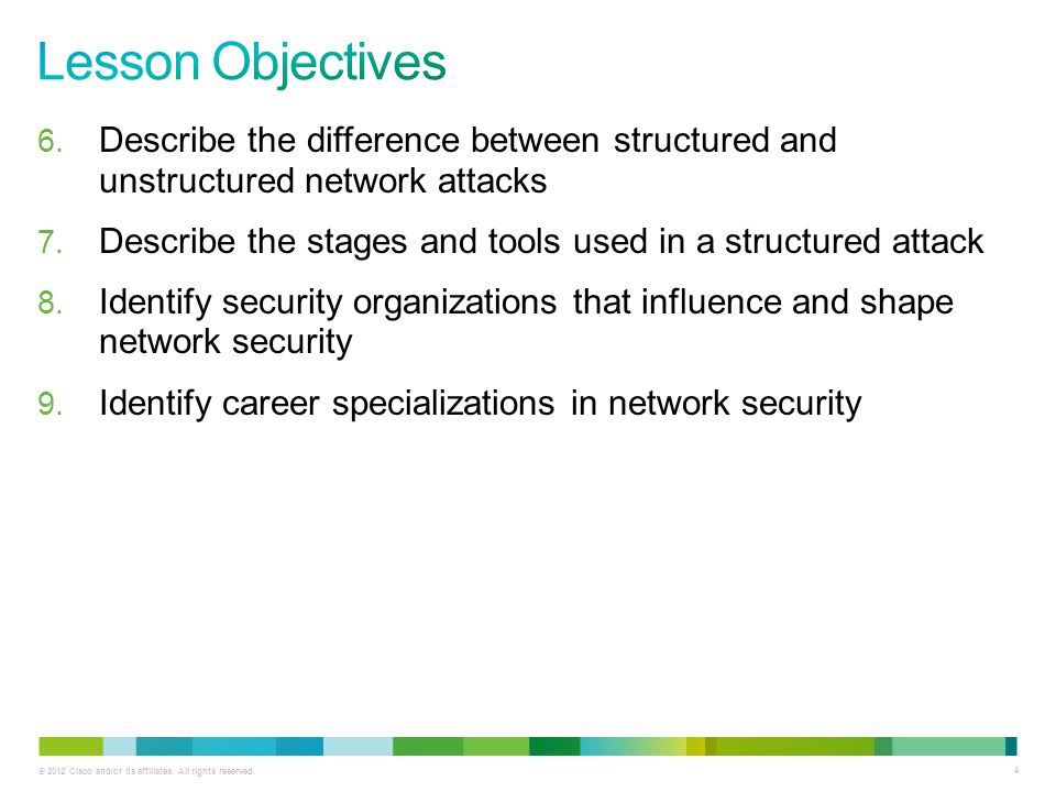 © 2012 Cisco and/or its affiliates. All rights reserved. 4 6. Describe the difference between structured and unstructured network attacks 7. Describe