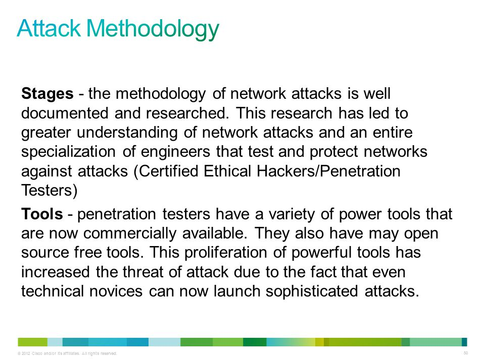 © 2012 Cisco and/or its affiliates. All rights reserved. 50 Stages - the methodology of network attacks is well documented and researched. This resear
