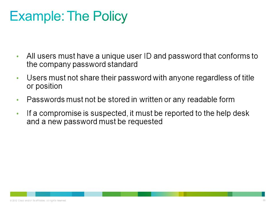 © 2012 Cisco and/or its affiliates. All rights reserved. 59 All users must have a unique user ID and password that conforms to the company password st