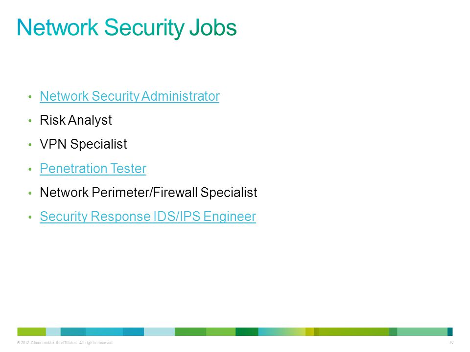 © 2012 Cisco and/or its affiliates. All rights reserved. 70 Network Security Administrator Risk Analyst VPN Specialist Penetration Tester Network Peri