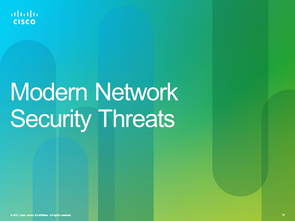 © 2012 Cisco and/or its affiliates. All rights reserved. 75 Modern Network Security Threats