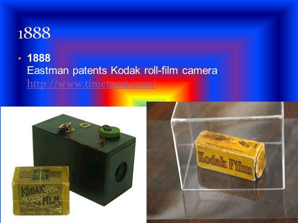 1888 Eastman patents Kodak roll-film camera. http://www.timetoast.com/ http://www.timetoast.com/