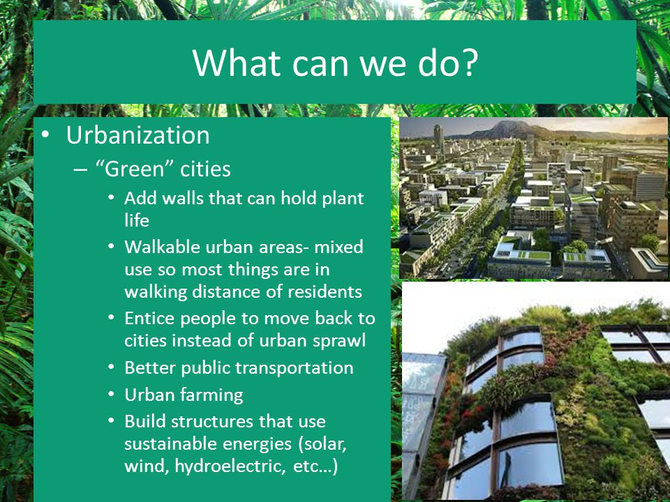 """What can we do? Urbanization – """"Green"""" cities Add walls that can hold plant life Walkable urban areas- mixed use so most things are in walking distanc"""