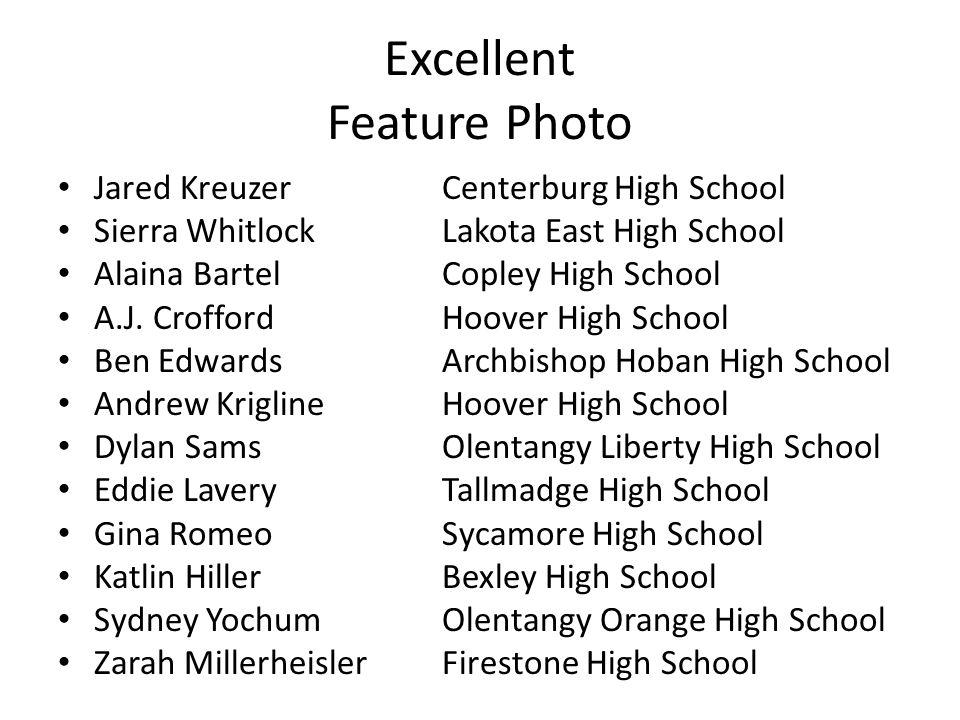 Excellent Feature Photo Jared KreuzerCenterburg High School Sierra WhitlockLakota East High School Alaina BartelCopley High School A.J. CroffordHoover