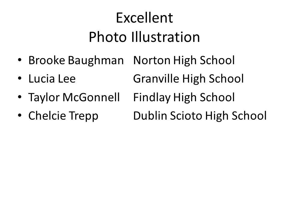 Excellent Photo Illustration Brooke BaughmanNorton High School Lucia LeeGranville High School Taylor McGonnellFindlay High School Chelcie TreppDublin Scioto High School