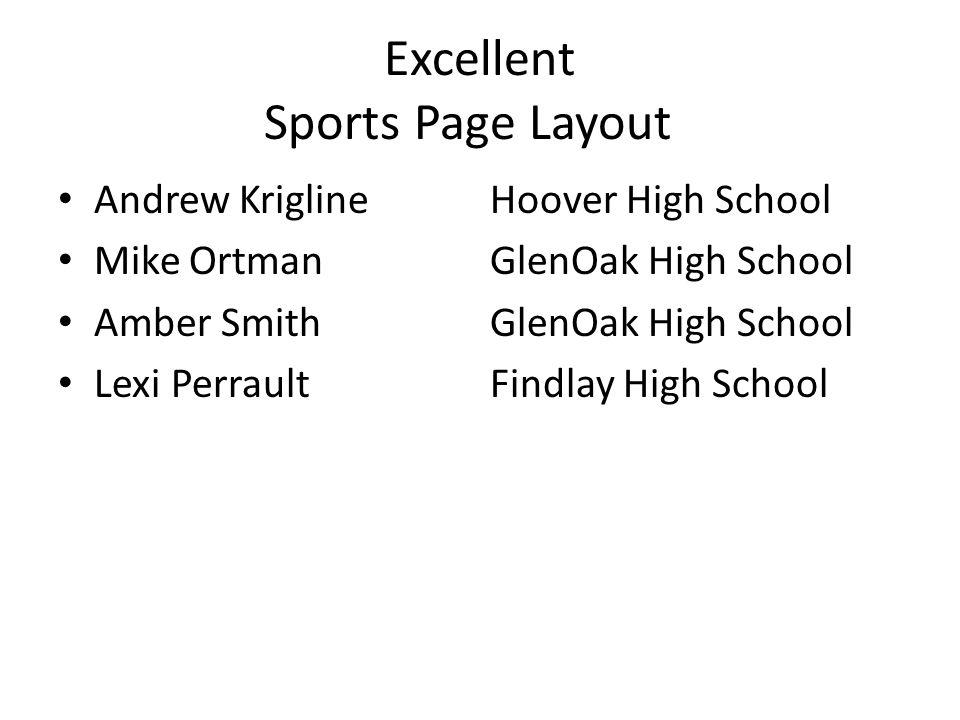 Excellent Sports Page Layout Andrew KriglineHoover High School Mike OrtmanGlenOak High School Amber SmithGlenOak High School Lexi PerraultFindlay High School