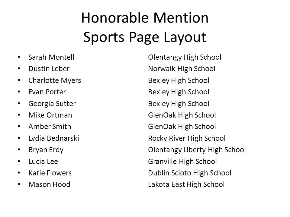 Honorable Mention Sports Page Layout Sarah MontellOlentangy High School Dustin LeberNorwalk High School Charlotte MyersBexley High School Evan PorterB