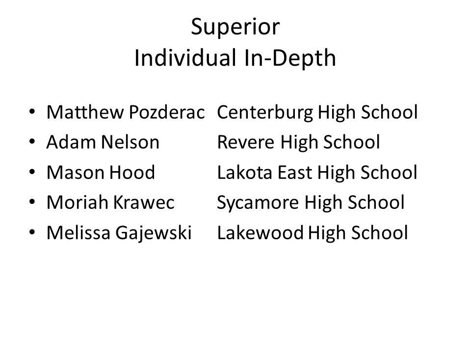 Superior Individual In-Depth Matthew PozderacCenterburg High School Adam NelsonRevere High School Mason HoodLakota East High School Moriah KrawecSycam