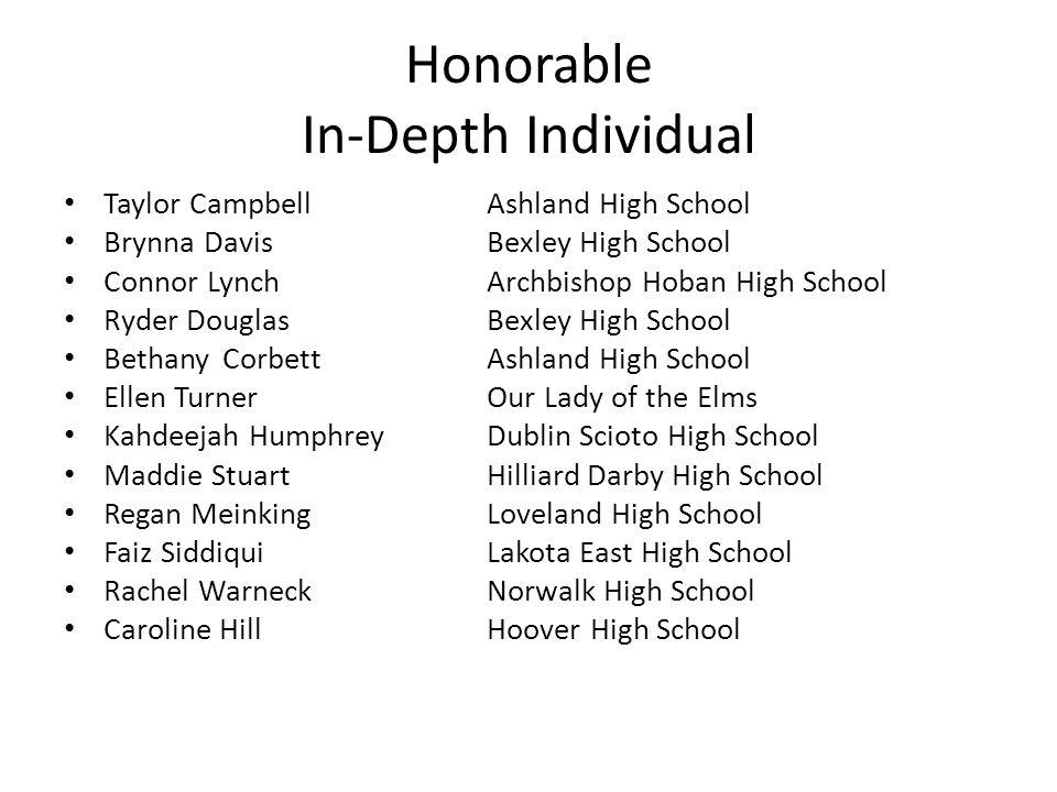 Honorable In-Depth Individual Taylor CampbellAshland High School Brynna DavisBexley High School Connor LynchArchbishop Hoban High School Ryder Douglas