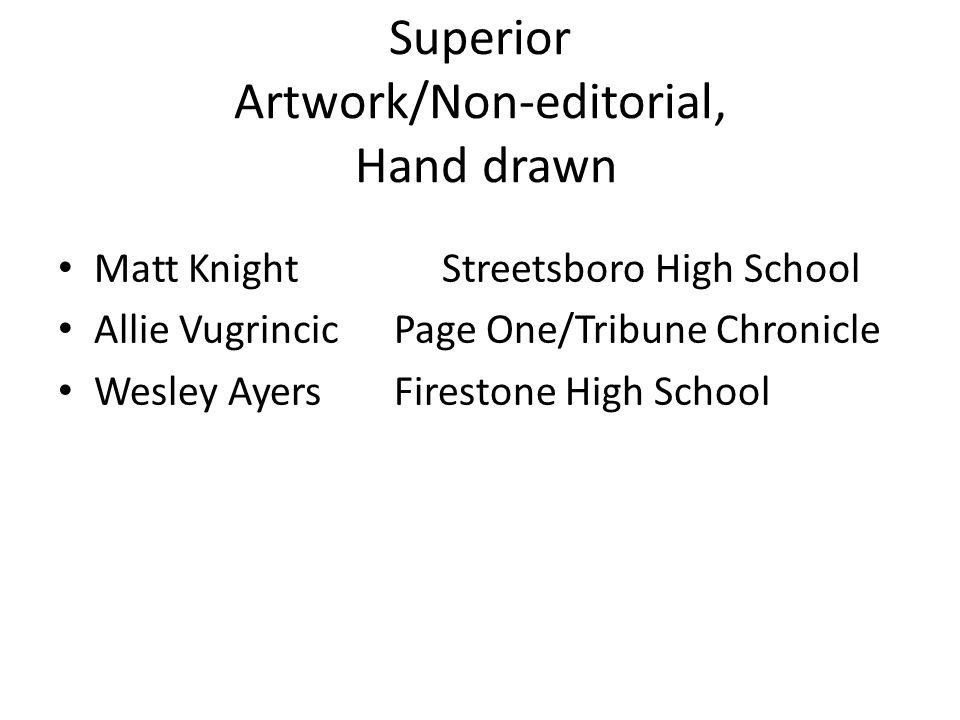 Superior Artwork/Non-editorial, Hand drawn Matt KnightStreetsboro High School Allie VugrincicPage One/Tribune Chronicle Wesley AyersFirestone High School
