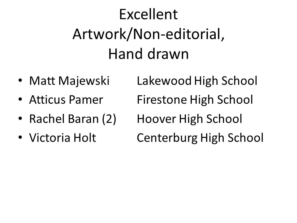 Excellent Artwork/Non-editorial, Hand drawn Matt MajewskiLakewood High School Atticus PamerFirestone High School Rachel Baran (2)Hoover High School Victoria HoltCenterburg High School