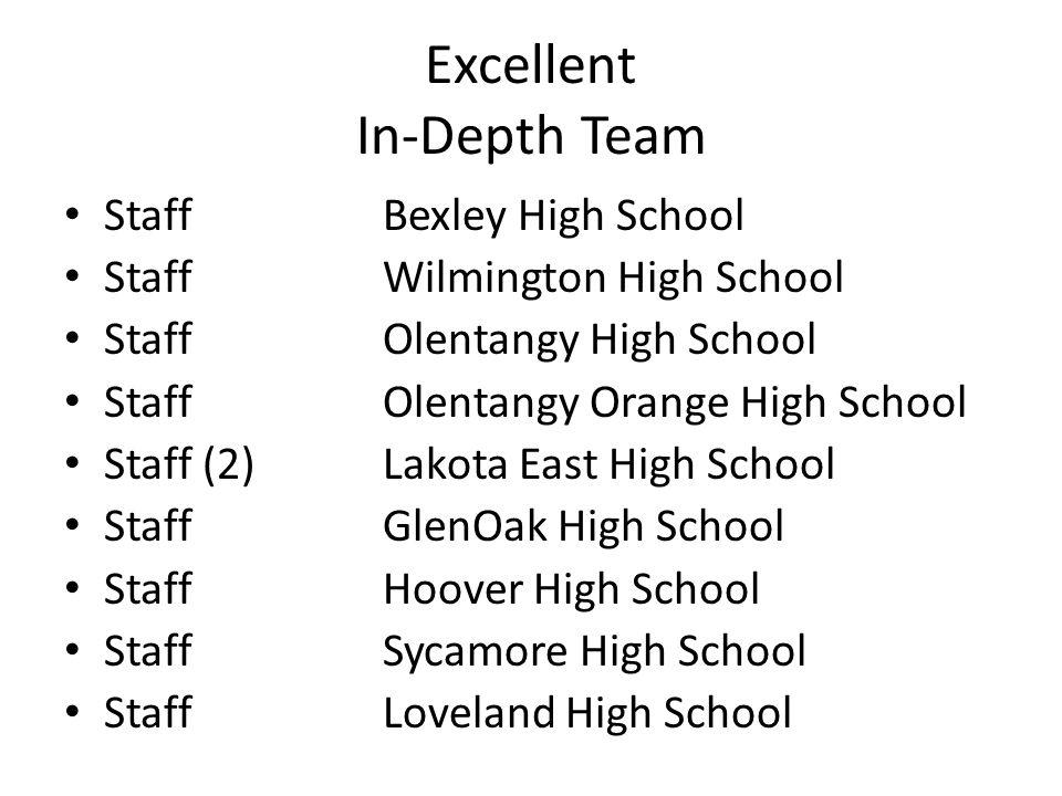 Excellent In-Depth Team StaffBexley High School StaffWilmington High School StaffOlentangy High School StaffOlentangy Orange High School Staff (2)Lako