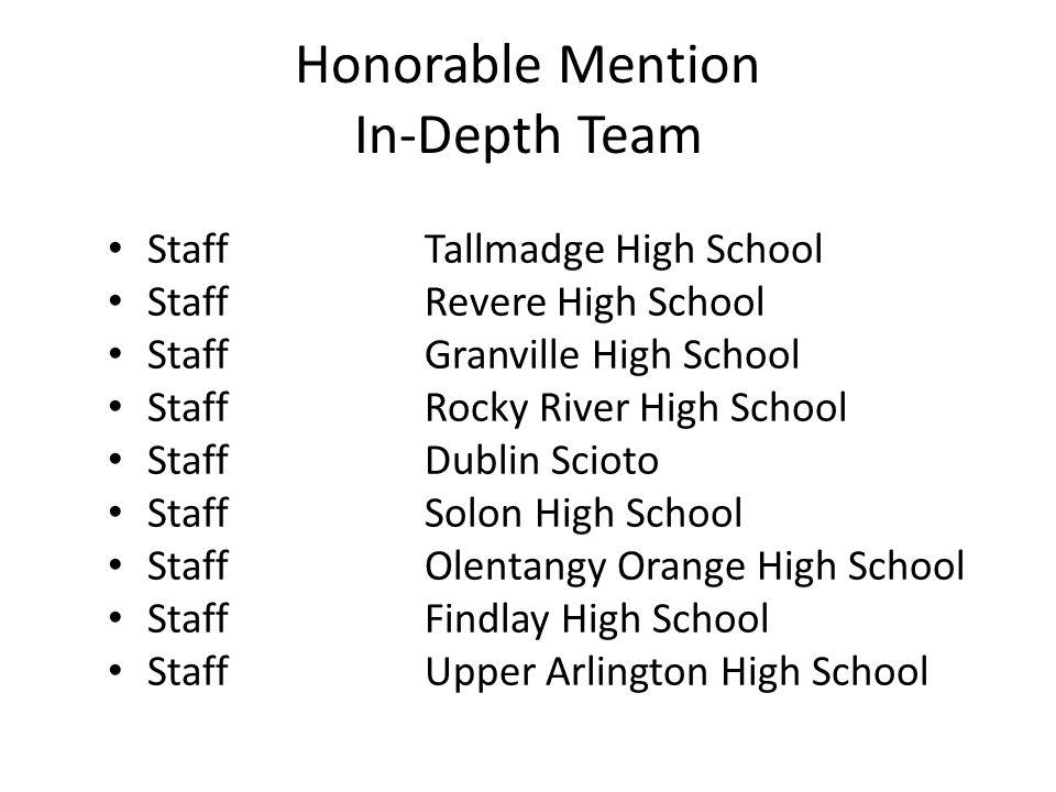 Honorable Mention In-Depth Team StaffTallmadge High School StaffRevere High School StaffGranville High School StaffRocky River High School StaffDublin