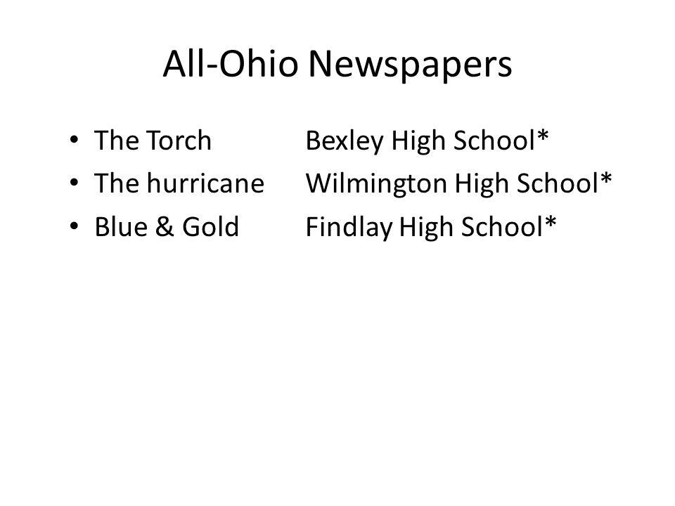 All-Ohio Newspapers The TorchBexley High School* The hurricaneWilmington High School* Blue & GoldFindlay High School*