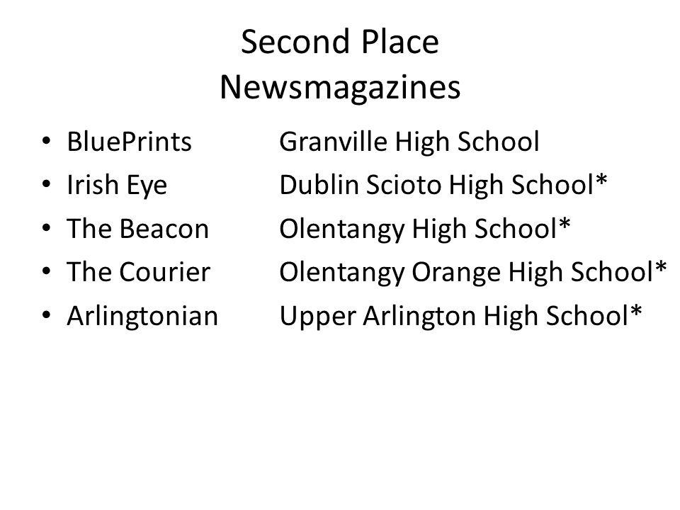 Second Place Newsmagazines BluePrintsGranville High School Irish EyeDublin Scioto High School* The BeaconOlentangy High School* The CourierOlentangy Orange High School* ArlingtonianUpper Arlington High School*