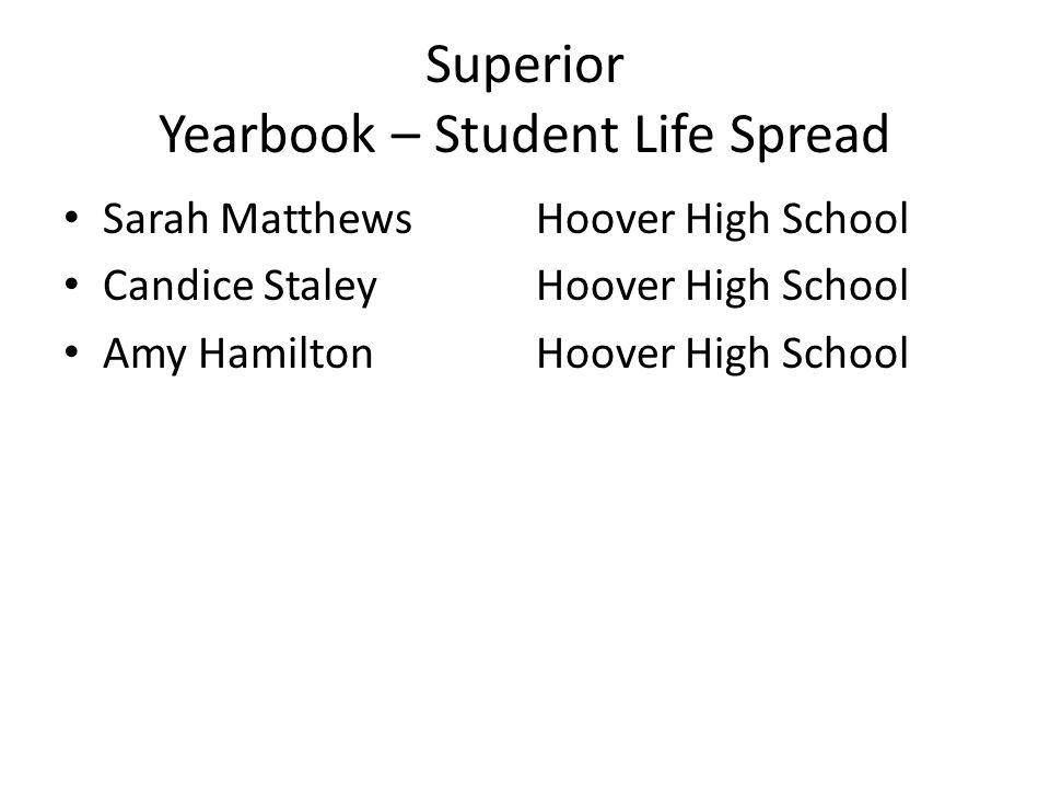 Superior Yearbook – Student Life Spread Sarah MatthewsHoover High School Candice StaleyHoover High School Amy HamiltonHoover High School