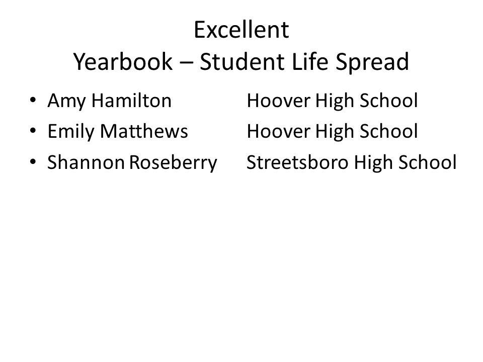 Excellent Yearbook – Student Life Spread Amy HamiltonHoover High School Emily Matthews Hoover High School Shannon RoseberryStreetsboro High School