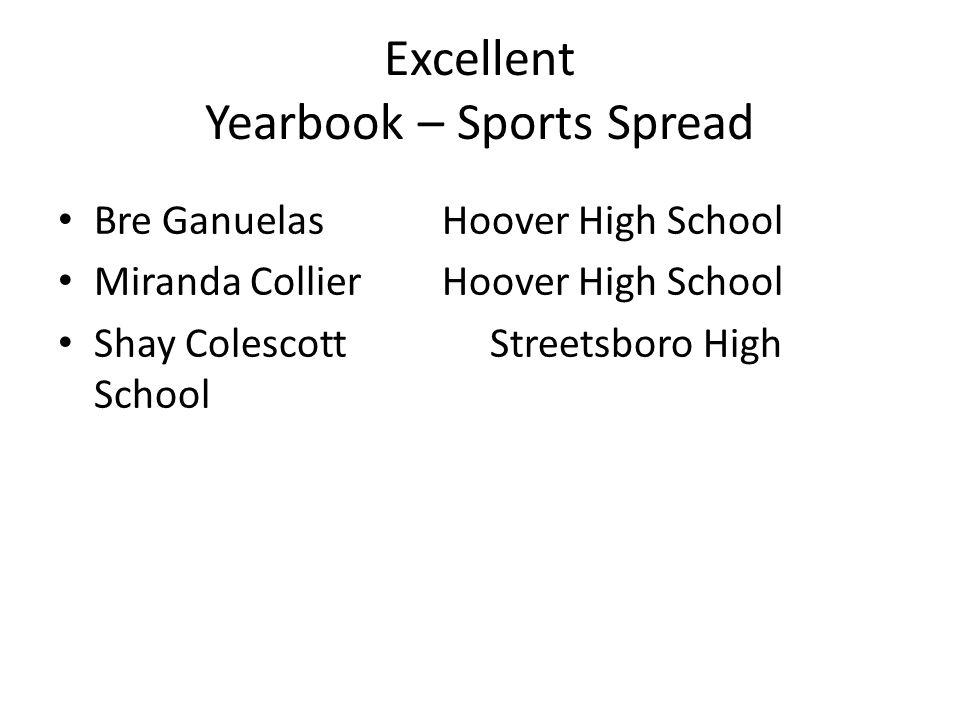 Excellent Yearbook – Sports Spread Bre GanuelasHoover High School Miranda Collier Hoover High School Shay ColescottStreetsboro High School