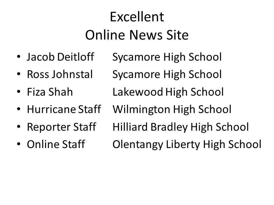 Excellent Online News Site Jacob DeitloffSycamore High School Ross Johnstal Sycamore High School Fiza ShahLakewood High School Hurricane StaffWilmingt