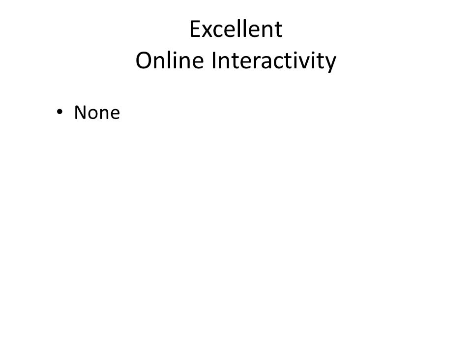 Excellent Online Interactivity None