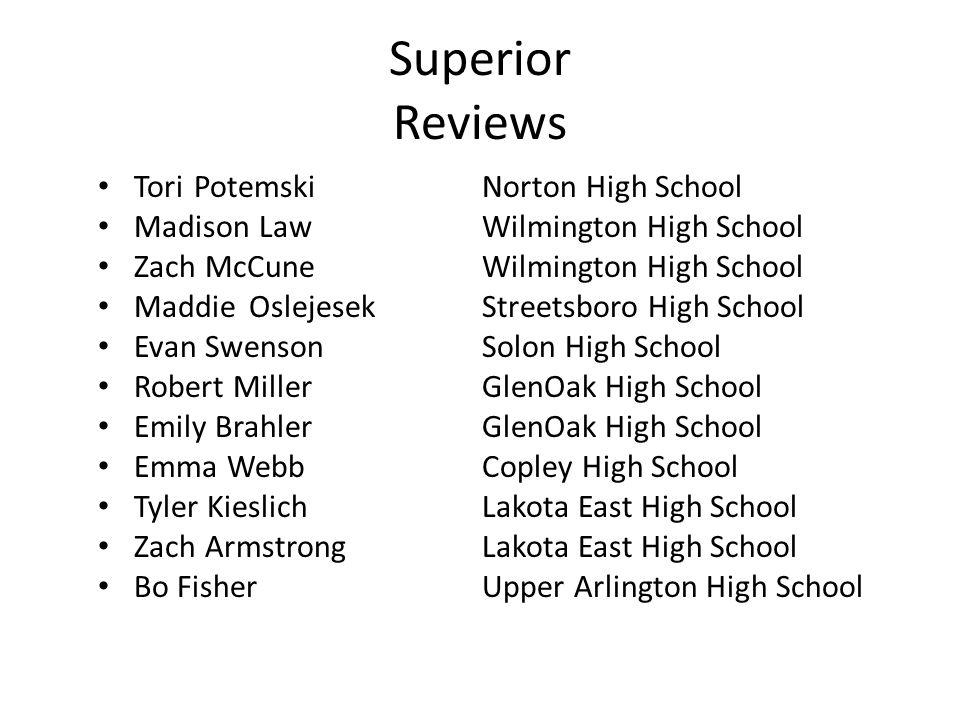 Superior Reviews ToriPotemskiNorton High School Madison LawWilmington High School Zach McCuneWilmington High School Maddie OslejesekStreetsboro High S