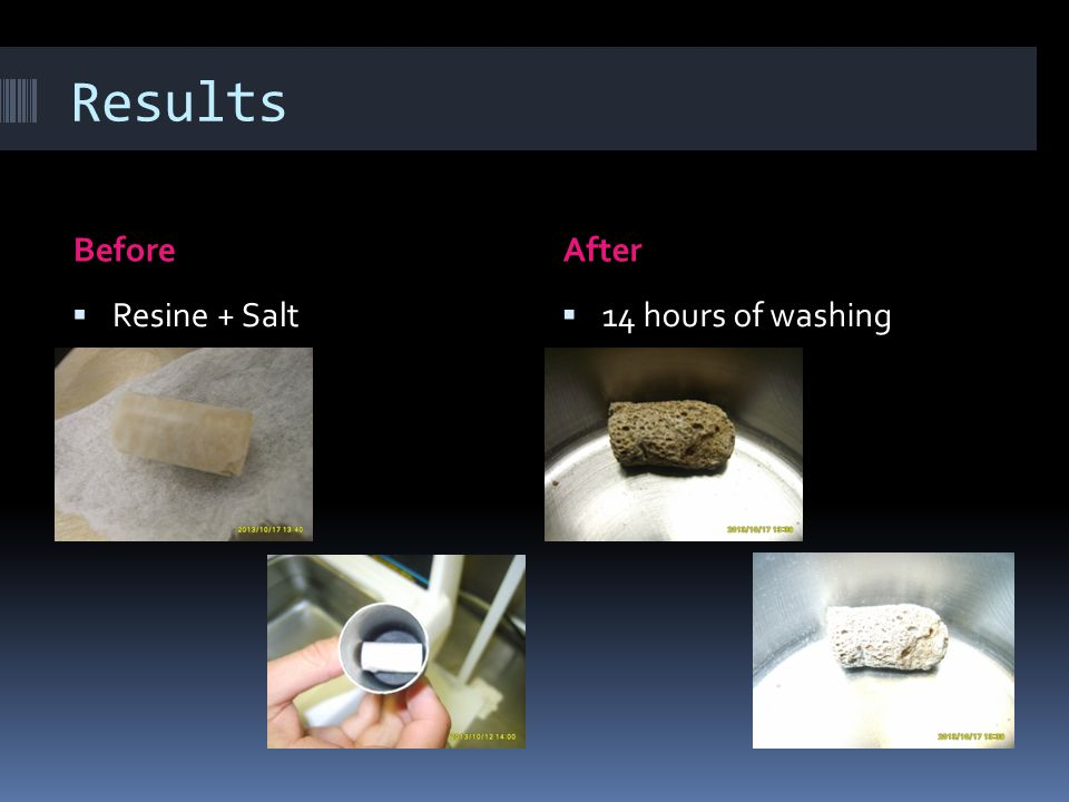 Results BeforeAfter  Resine + Salt  14 hours of washing