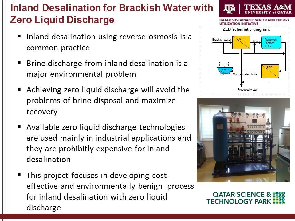 Inland Desalination for Brackish Water with Zero Liquid Discharge  Inland desalination using reverse osmosis is a common practice  Brine discharge from inland desalination is a major environmental problem  Achieving zero liquid discharge will avoid the problems of brine disposal and maximize recovery  Available zero liquid discharge technologies are used mainly in industrial applications and they are prohibitly expensive for inland desalination  This project focuses in developing cost- effective and environmentally benign process for inland desalination with zero liquid discharge ZLD schematic diagram.