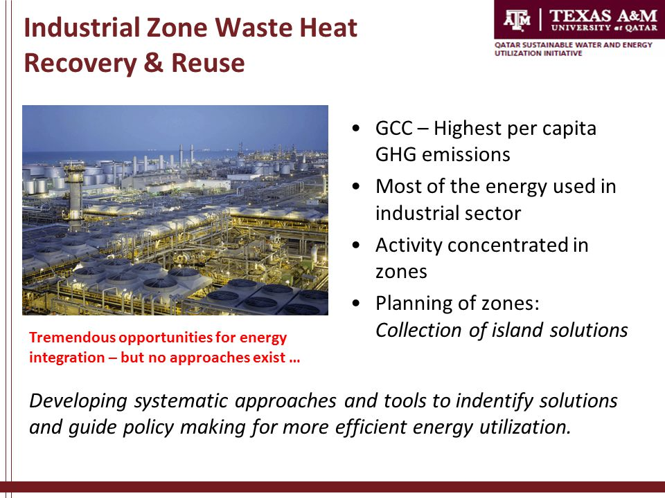 Industrial Zone Waste Heat Recovery & Reuse GCC – Highest per capita GHG emissions Most of the energy used in industrial sector Activity concentrated in zones Planning of zones: Collection of island solutions Developing systematic approaches and tools to indentify solutions and guide policy making for more efficient energy utilization.