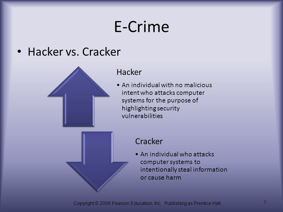 Copyright © 2009 Pearson Education, Inc. Publishing as Prentice Hall 7 E-Crime Hacker vs. Cracker Hacker An individual with no malicious intent who at