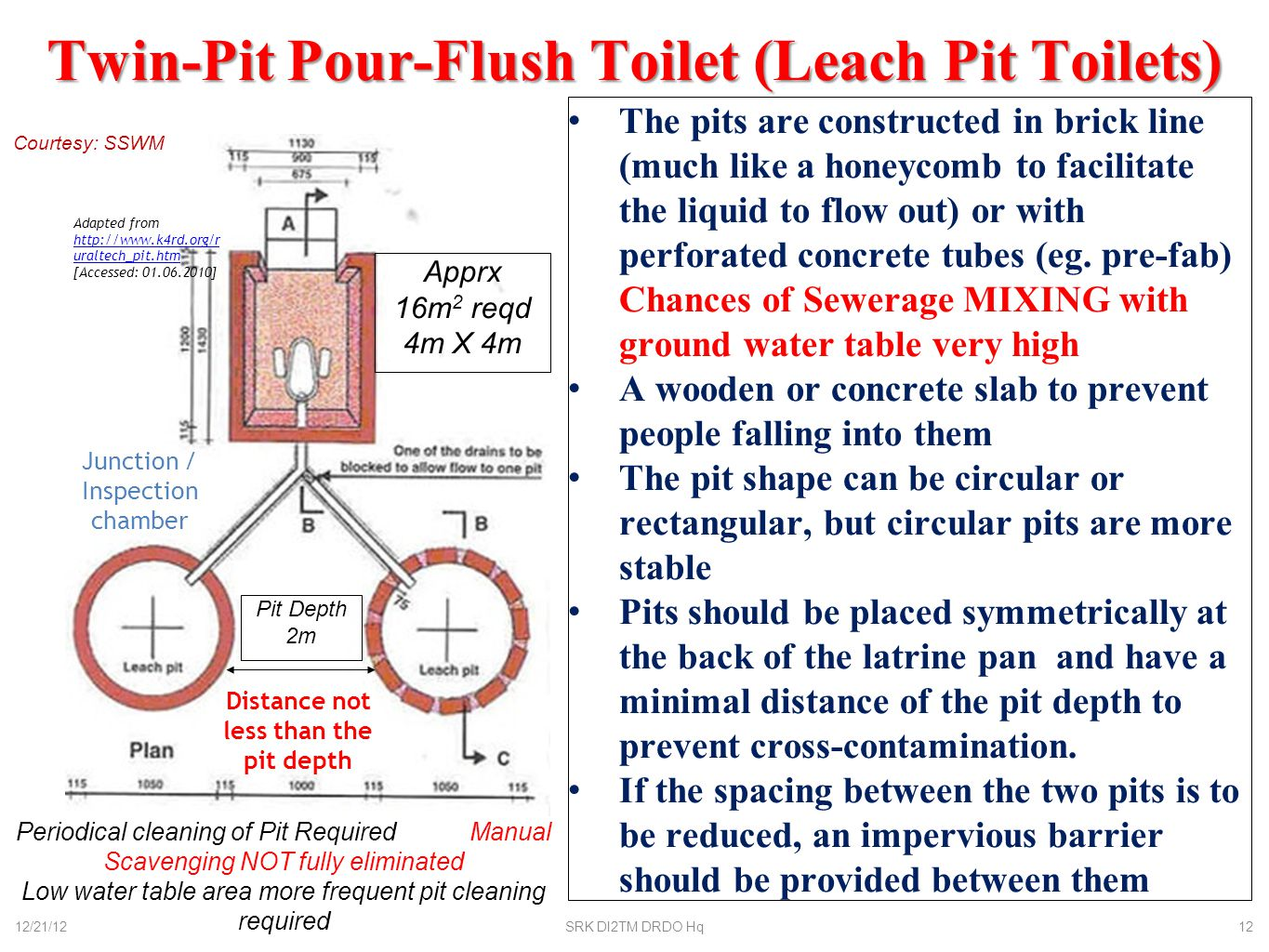 Septic Tank Sludge needs periodical evacuation (in case no drain more frequent evacuation of septic tank required) Outlet to drain / leach pit 12/21/12SRK DI2TM DRDO Hq13