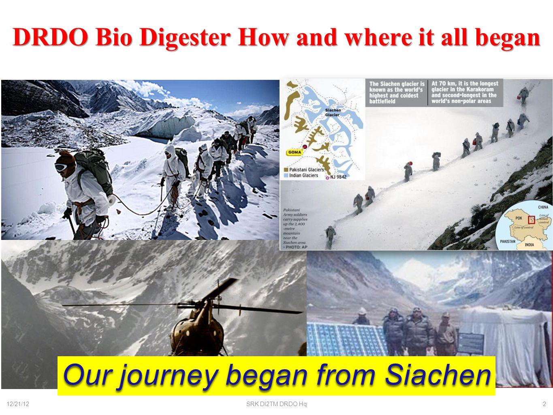 Modular Biodigesters for Glaciers 12/21/12SRK DI2TM DRDO Hq3