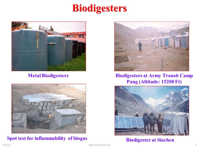 Biodigester Development Metal – 50-60 men FRP – 50-60 men Temp controlled: 20-25 men : 7-10 men (Modular) SoilGlacier 12/21/12SRK DI2TM DRDO Hq5