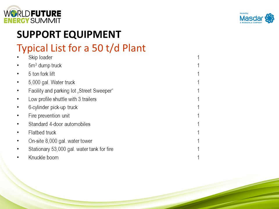 "SUPPORT EQUIPMENT Typical List for a 50 t/d Plant Skip loader 1 5m 3 dump truck1 5 ton fork lift1 5,000 gal. Water truck1 Facility and parking lot ""St"