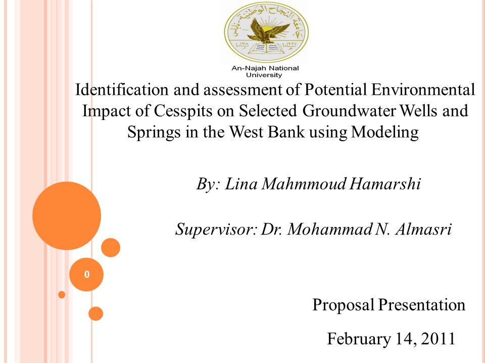 Identification and assessment of Potential Environmental Impact of Cesspits on Selected Groundwater Wells and Springs in the West Bank using Modeling Supervisor: Dr.
