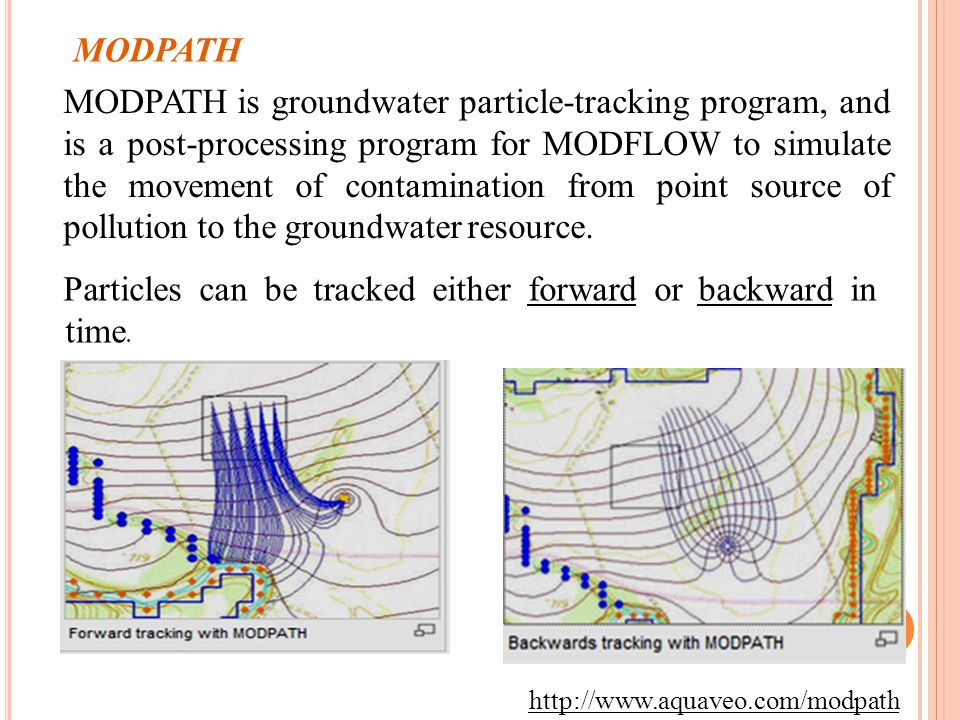 9 MODPATH MODPATH is groundwater particle-tracking program, and is a post-processing program for MODFLOW to simulate the movement of contamination from point source of pollution to the groundwater resource.