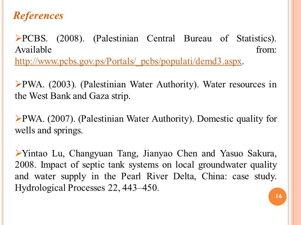 16 References  PCBS. (2008). (Palestinian Central Bureau of Statistics).