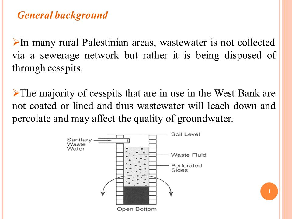 1 General background  In many rural Palestinian areas, wastewater is not collected via a sewerage network but rather it is being disposed of through cesspits.