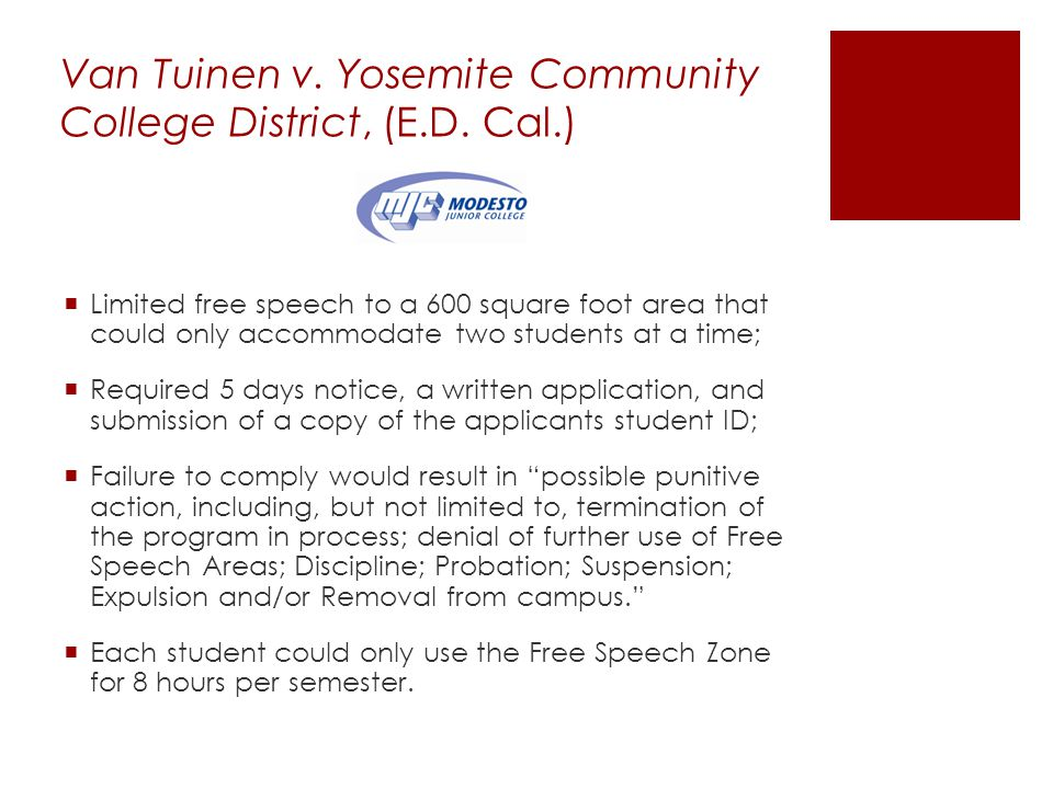 Van Tuinen v.Yosemite Community College District, (E.D.