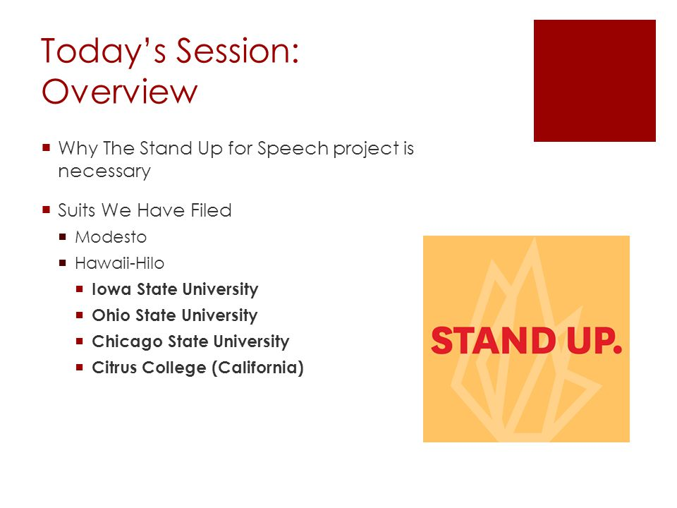 Today's Session: Overview  Why The Stand Up for Speech project is necessary  Suits We Have Filed  Modesto  Hawaii-Hilo  Iowa State University  Ohio State University  Chicago State University  Citrus College (California)