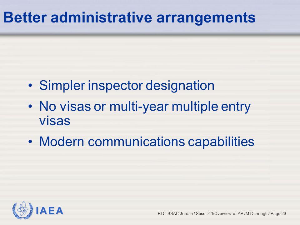 IAEA RTC SSAC Jordan / Sess. 3.1/Overview of AP /M.Derrough / Page 20 Better administrative arrangements Simpler inspector designation No visas or mul