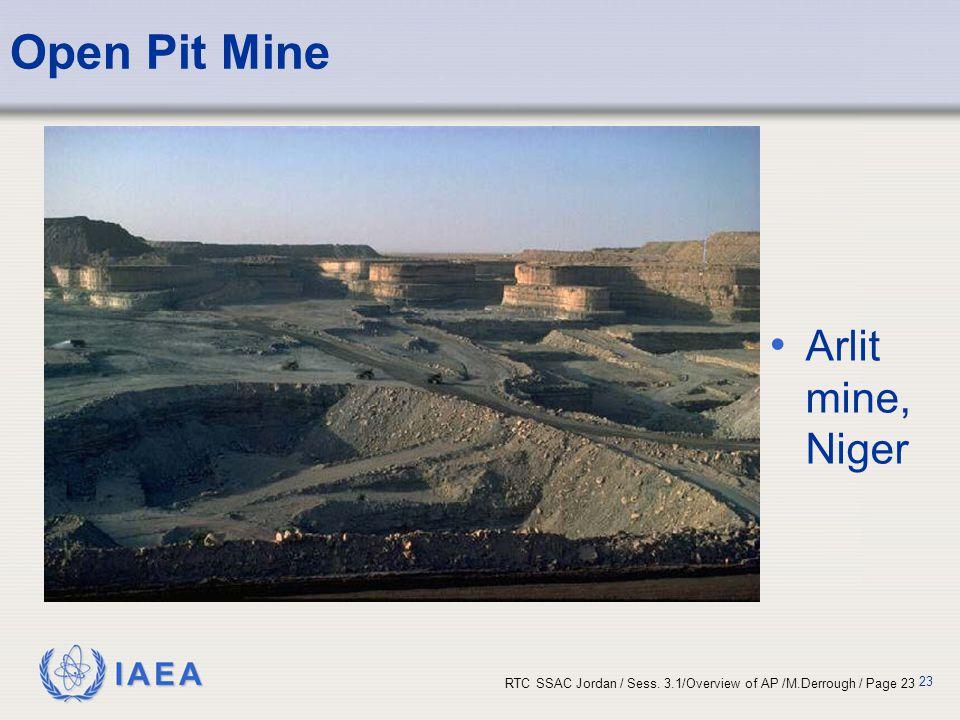 IAEA RTC SSAC Jordan / Sess. 3.1/Overview of AP /M.Derrough / Page 23 23 Open Pit Mine Arlit mine, Niger