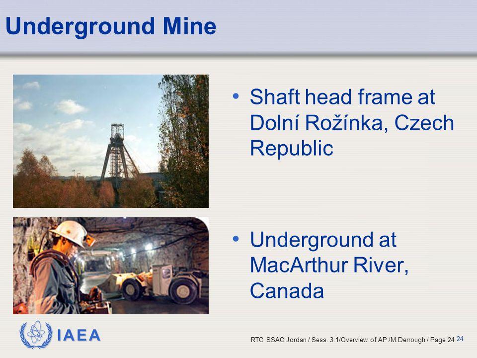 IAEA RTC SSAC Jordan / Sess. 3.1/Overview of AP /M.Derrough / Page 24 24 Underground Mine Shaft head frame at Dolní Rožínka, Czech Republic Undergroun